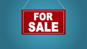A business sign that says: For sale. Animated board falls and sways. Blue background. royalty free illustration