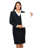 Business sign. Business woman showing blank sign for copy space. Isolated on a white background Royalty Free Stock Photo
