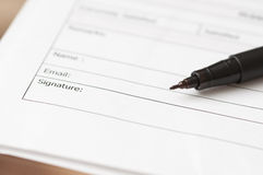 Business Signature. Business Letter Signature And Pen Stock Photo