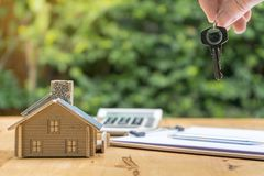 Business Signing a Contract Buy - sell house stock image