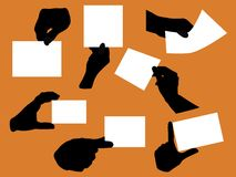 Business signs. Variety of hand silhouettes holding blank papers Stock Images