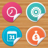 Business signs. Calendar and USD money bag icons. Royalty Free Stock Photos