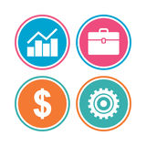 Business signs. Graph chart and case icons. Royalty Free Stock Photos