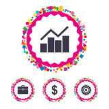 Business signs. Graph chart and case icons. Royalty Free Stock Photo