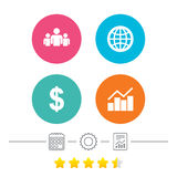 Business signs. Graph chart and globe icons. Royalty Free Stock Photo