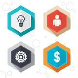 Business signs. Human and lamp bulb idea icons. Hexagon buttons. Business icons. Human silhouette and lamp bulb idea signs. Dollar currency and gear symbols Stock Photo