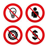 Business signs. Human and lamp bulb idea icons Stock Images