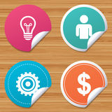 Business signs. Human and lamp bulb idea icons. Stock Photo