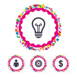 Business signs. Human and lamp bulb idea icons. Royalty Free Stock Photography