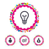 Business signs. Human and lamp bulb idea icons. Royalty Free Stock Image