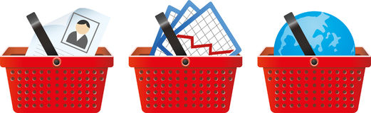 Business signs in shop basket Stock Images