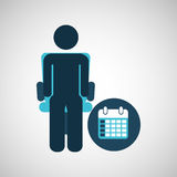 Business silhouette man calendar planning Royalty Free Stock Images