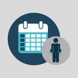 Business silhouette man calendar planning Stock Photo