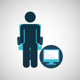 Business silhouette man computer Royalty Free Stock Photos
