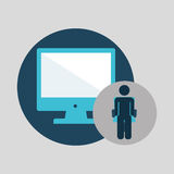 Business silhouette man computer Royalty Free Stock Images