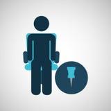Business silhouette man pin map. Vector illustration eps 10 vector illustration