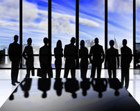 Business silhouettes. Silhouettes of men and women in business stock illustration