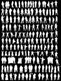 Business silhouettes. White business people and different silhouettes on black background Royalty Free Stock Image