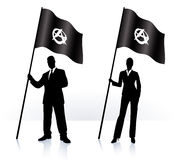 Business silhouettes with waving flag of Anarchy Stock Photos