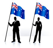 Business silhouettes with waving flag of Australia Royalty Free Stock Photos