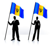 Business silhouettes with waving flag of Barbados Stock Photography