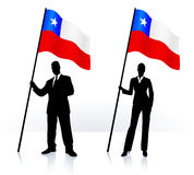 Business silhouettes with waving flag of Chile Stock Image