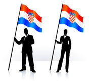 Business silhouettes with waving flag of Croatia Royalty Free Stock Images