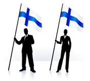 Business silhouettes with waving flag of Finland. Business silhouettes with waving flag of  Finland Royalty Free Stock Image