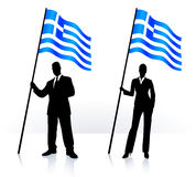 Business silhouettes with waving flag of Greece Royalty Free Stock Images