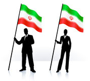 Business silhouettes with waving flag of Iran Royalty Free Stock Photos