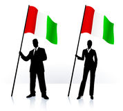 Business silhouettes with waving flag of Italy Royalty Free Stock Photo