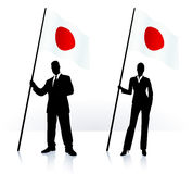 Business silhouettes with waving flag of Japan Stock Image