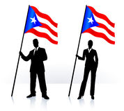 Business silhouettes with waving flag of Puerto Rico Royalty Free Stock Images