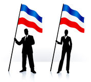 Business silhouettes with waving flag of serbia and montenegro Stock Images