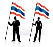 Business silhouettes with waving flag of Tailand Royalty Free Stock Photography