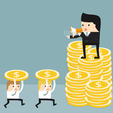 The Business situation. Business situation. Boss standing on a pile of coins and commanding rofficers into a megaphone. Employees run work. Vector illustration Stock Image