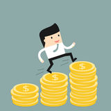 Business situation. Businessman climbs the stairs of money. Symbol of revenue growth. Vector illustration Stock Photography