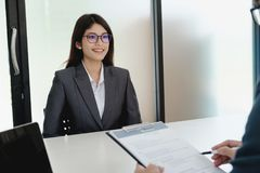 Business situation, job interview concept. royalty free stock photo