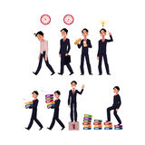 Business situations - go to work, idea generation, lunch, success, career ladder Royalty Free Stock Images
