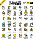 Business situations icons. Business situations pixel perfect outline icons modern style for website or print illustration Stock Images