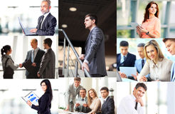 Business situations presented as a collage. Various business situations presented as a collage stock images