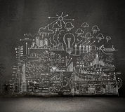 Business sketch on black wall Royalty Free Stock Images