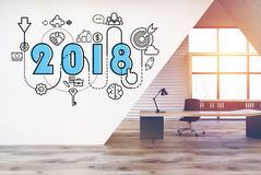 2018 and start up sketch in a CEO office. 2018 and a business sketch drawn on a white wall in a modern office room. Concept of planning in business. 3d render Royalty Free Stock Images