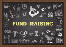 Business sketch about fund raising on chalkboard. Stock Photo