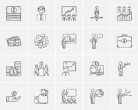 Business sketch icon set. Business sketch icon set for web, mobile and infographics. Hand drawn business icon set. Business vector icon set. Business icon set Royalty Free Stock Photo