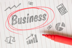 Business sketch on linear paper Royalty Free Stock Images