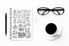 Business sketch in notepad Royalty Free Stock Images