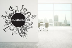Business sketch in office interior Royalty Free Stock Photo
