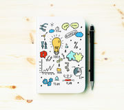 Business sketch and pen Royalty Free Stock Photo