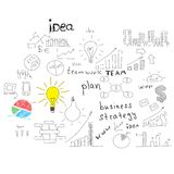 Business sketches: buildings, words and more Stock Images